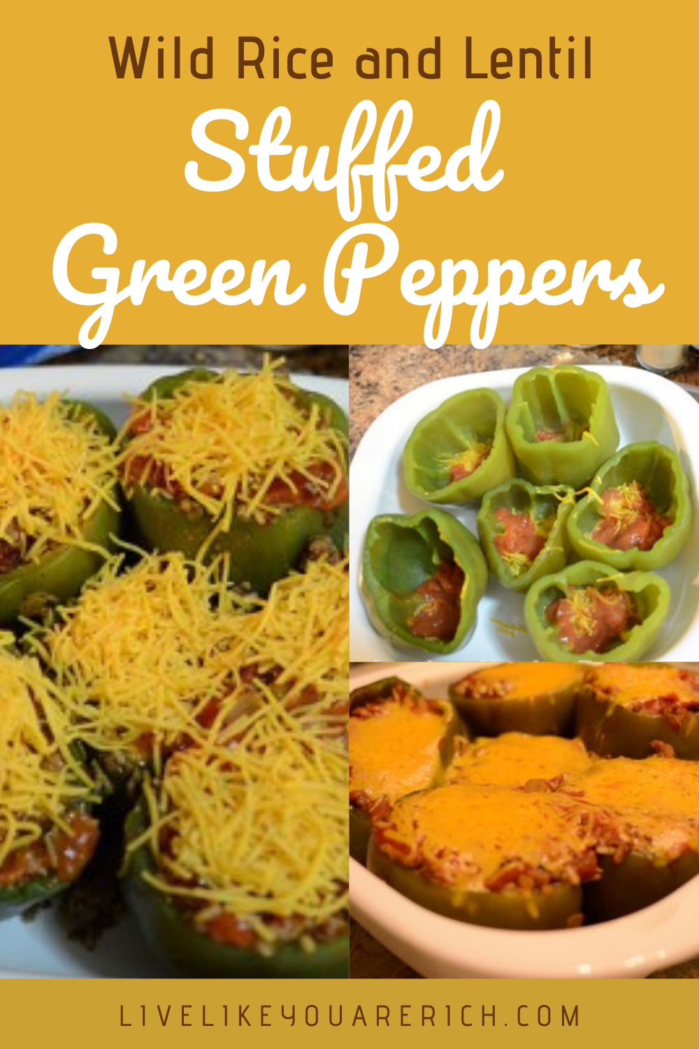 wild rice and lentil stuffed green peppers