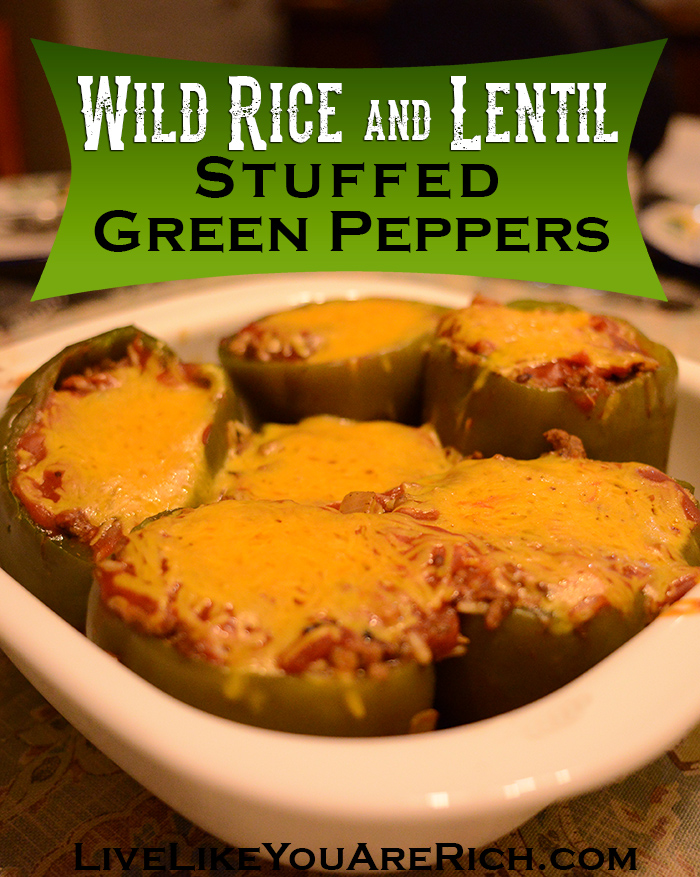 Looking for a great meal for dinner or anytime? Try this Wild Rice and Lentil Stuffed Green Peppers. Your family will love it as much as mine does! #wildriceandlentil #greenpeppers