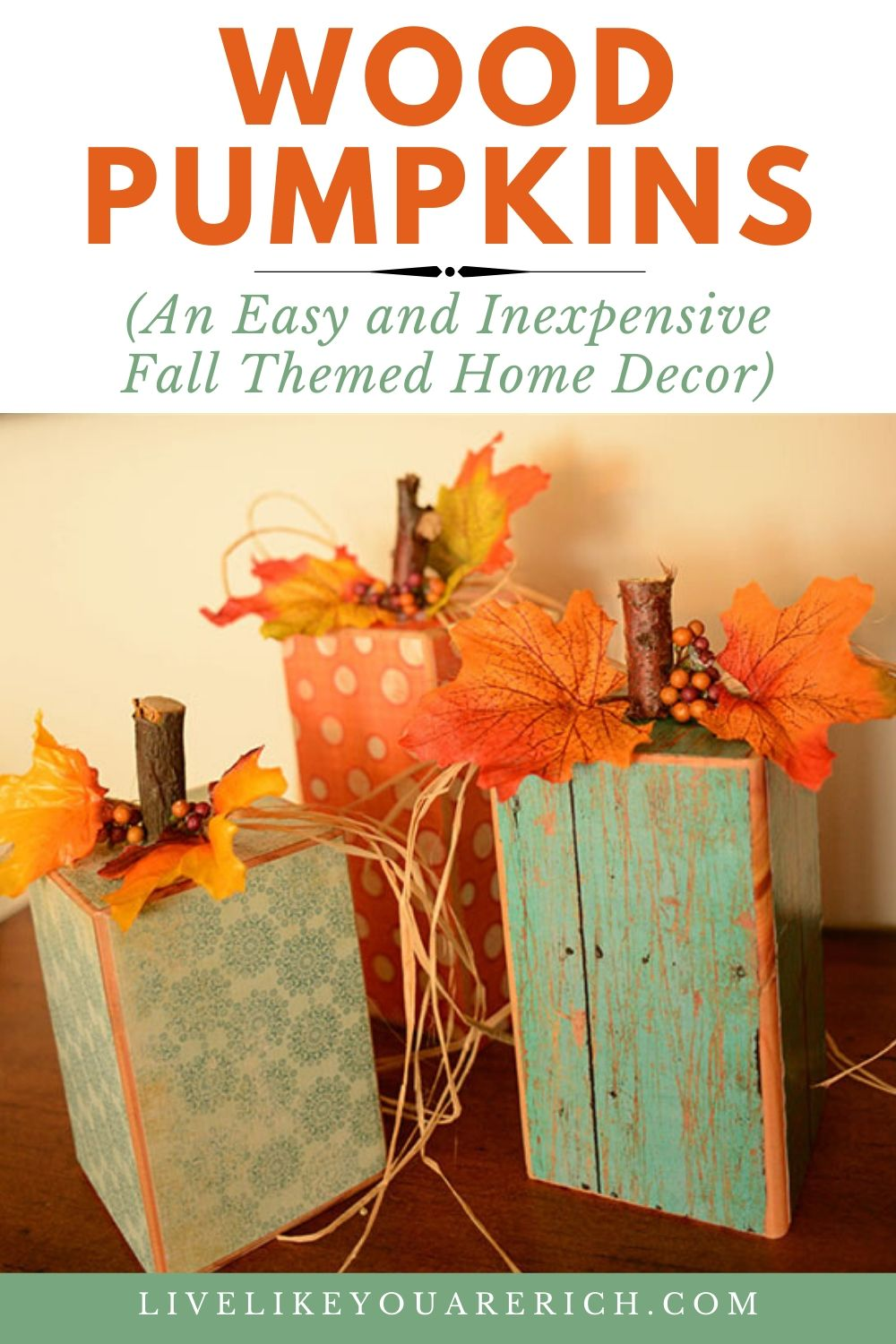 This Fall themed wood pumpkins will work as decor for Halloween, Fall, andThanksgiving. They are very inexpensive and they are easy to make.