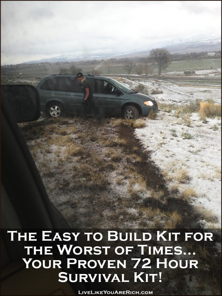 The Easy to Build Kit for the Worst of Times... Your Proven 72 Hour Kit! Includes a list of an emergency car kit, baby emergency kit, first aid kit, and a survival kit for multiple people for 72 hours.