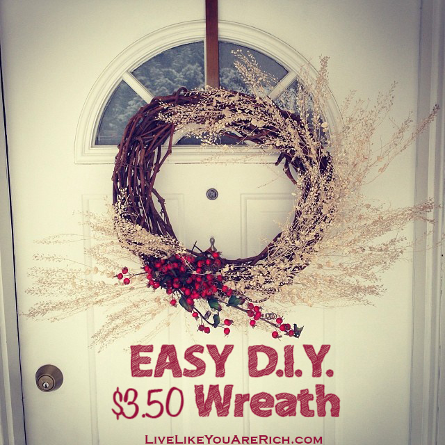 Easy D.I.Y. Wreath great for Christmas and Valentines. Super inexpensive and simple to assemble!