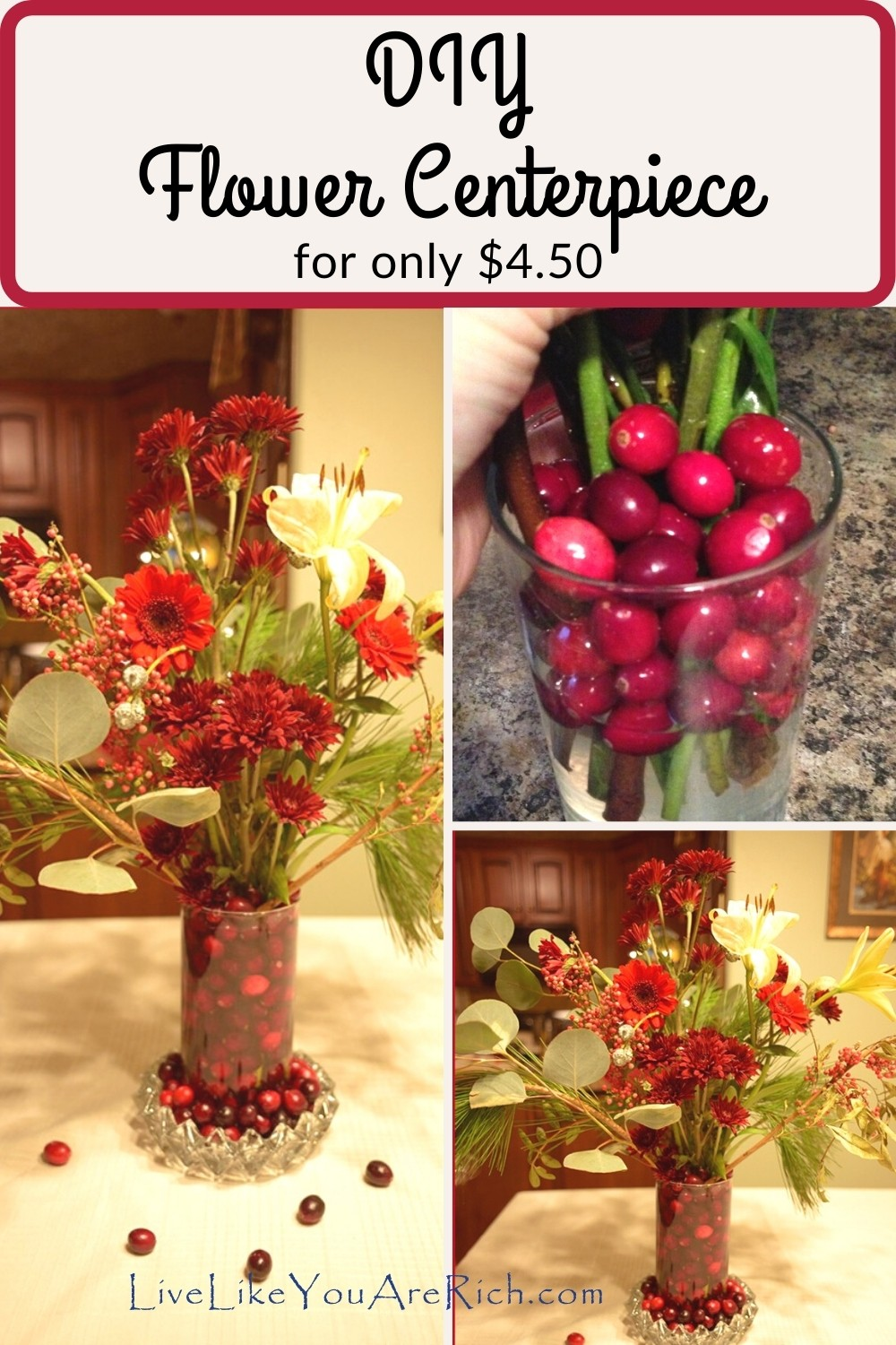 D.I.Y. $4.50 Centerpiece. Impress guests with fresh flowers, cranberries and more this winter without spending over $5.00