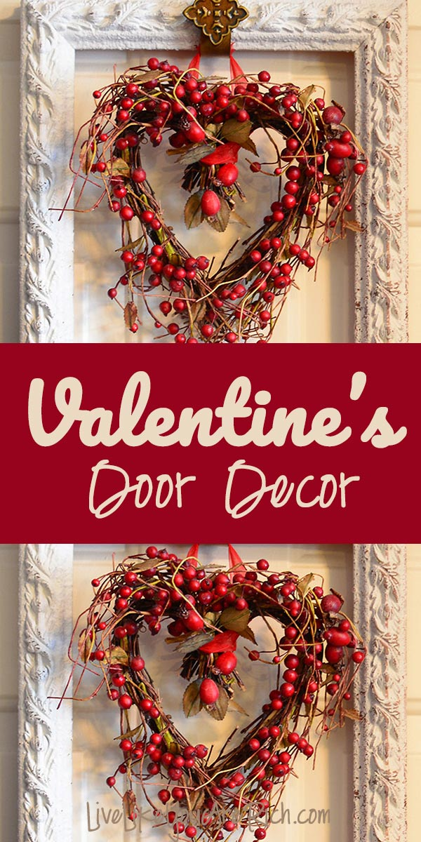 How to make Valentine's Door Decor using any frame (no glass or back) and hanging an object in it. It takes 5-10 minutes to put together. #livelikeyouarerich #valentinesdoordecor #diy #crafts #homedecor