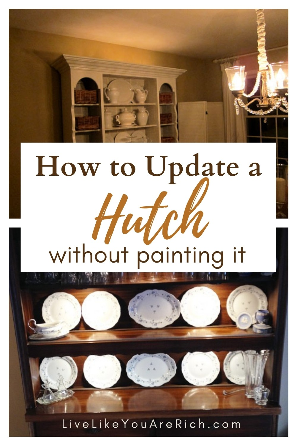 You don't have to painstakingly sand, prime and paint an old hutch in order to update it.My mom has a gorgeous very large hutch. We are renovating her dining room and wanting to update it. Ultimately repainting it was going to be too much work. Plus, it already matched the new hard wood and dining room set, and even the french doors. So we decided to come up with other ways to update it. Here are 9 ways to update a hutch without repainting it. #hutch #makeover