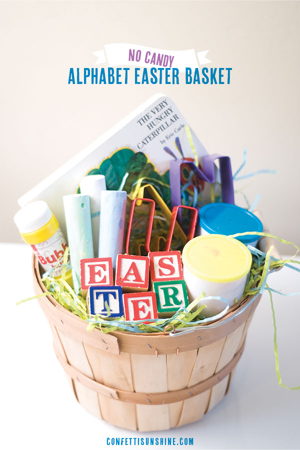 Peter rabbit no candy easter basket alphabet easter basket ideas negle