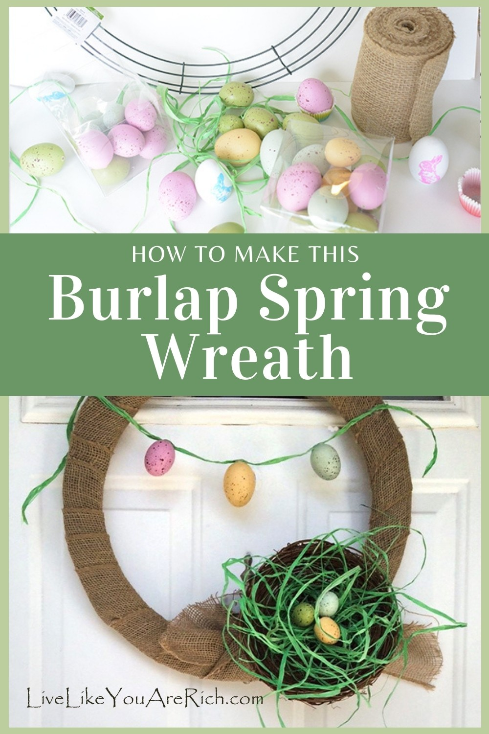 How to Make This Burlap Spring Wreath