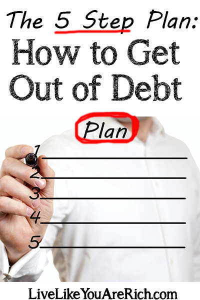 For financial peace of mind it is important to get out of consumer debt. Here are 5 steps that will get you out of debt and save you a lot of money in the process. #getoutofdebt #deftfree