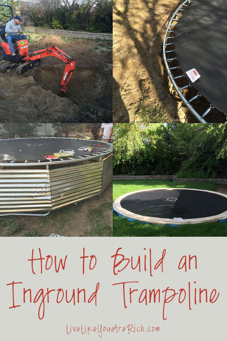 Step-by-step easy to follow instructions. Inground trampolines are jumped and used more by children than above ground tramps. They are also safer, more convenient for parents of younger kids, and really are not that hard to install. #trampoline #ingroundtrampoline #diy #backyardideas