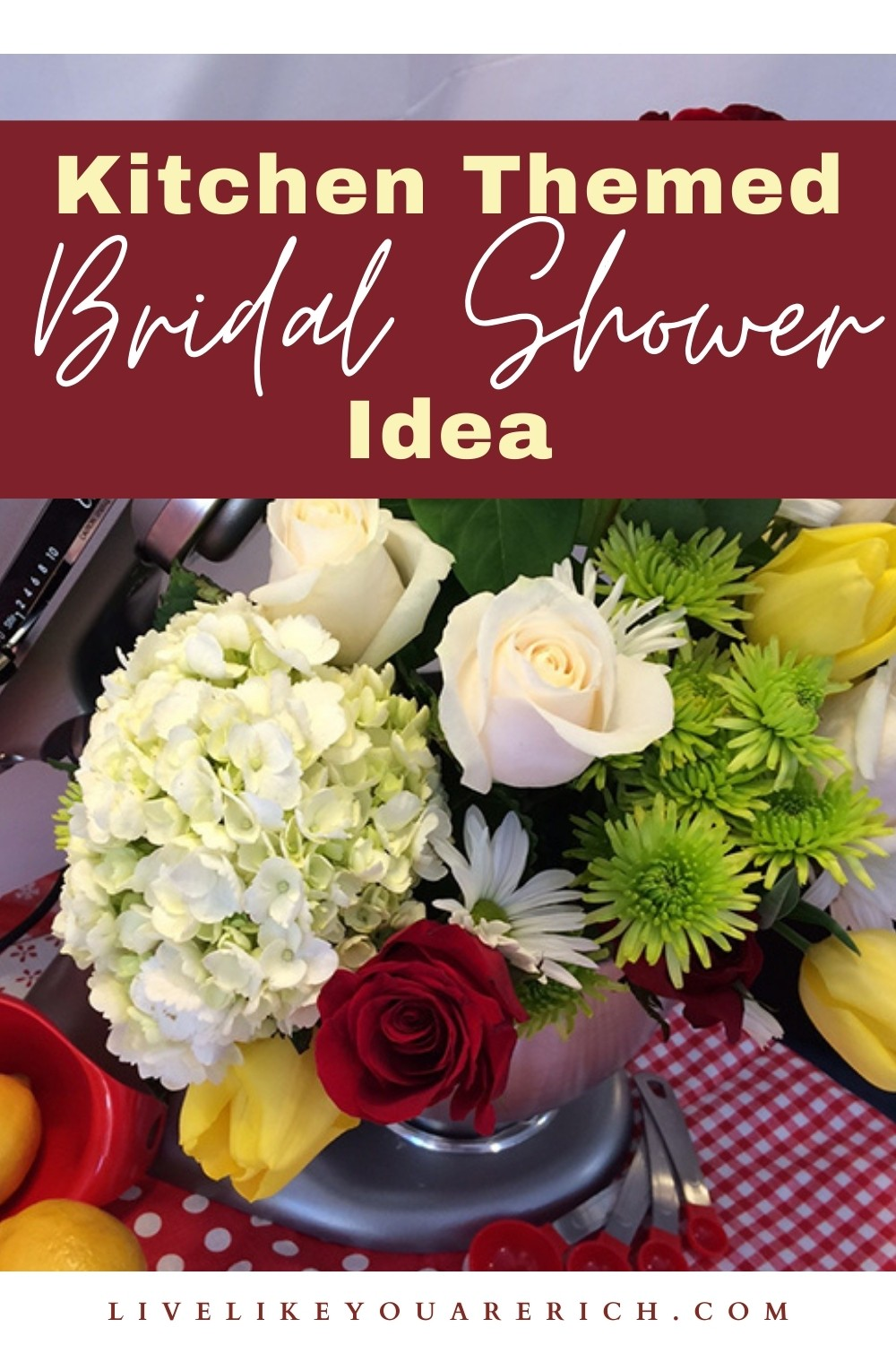 Looking for inexpensive bridal shower ideas? You have to see this simple, inexpensive, fun, and cute kitchen themed bridal shower idea. These gave you a few great ideas on throwing a bridal shower party on a budget. #bridalshower #bridalshowerideas