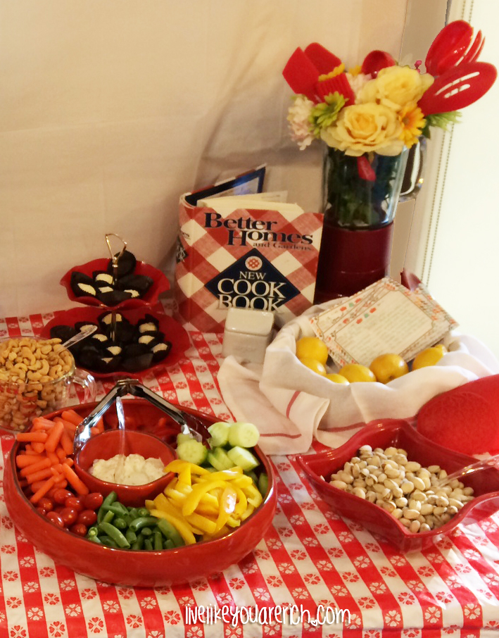 Food and decor at a Kitchen Themed Bridal Shower