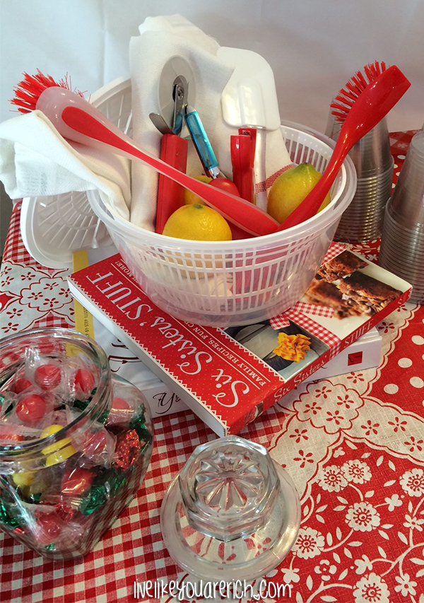 cookbooks and saladspinner Kitchen Themed Bridal Shower