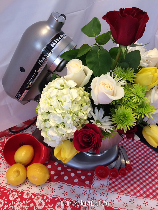 Kitchenaid with bouquet of flowers