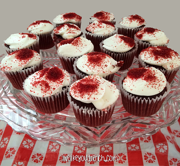 Red Velvet Cupcakes at a Kitchen Themed Bridal Shower