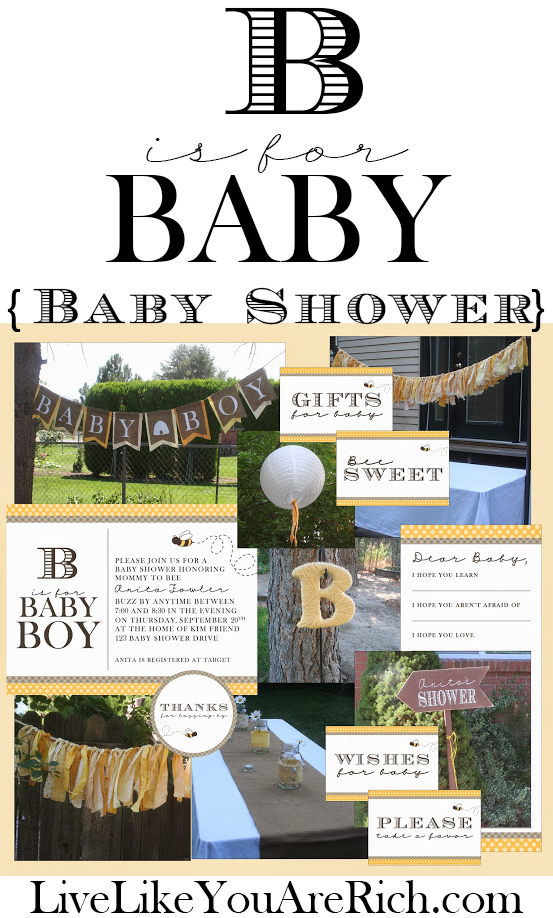 This theme could be used as a boy, girl, or gender neutral shower by simply saying Bee is for Baby... free printables, lots of ideas, way cute!