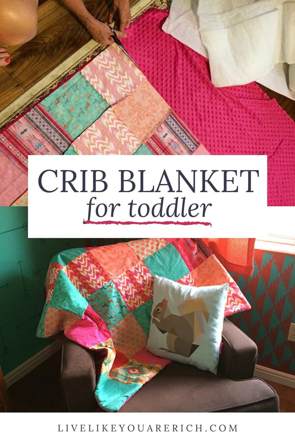 For both my son's and daughter's nurseries I've wanted to make custom crib blankets to match the color scheme, theme, and decor. I've been very happy with the crib/toddler blanket I made for my son so I wanted to make a very similar one for my daughter. So I'm sharing how I complete the project.