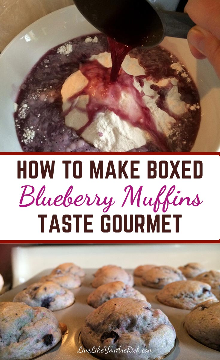 Using just one discarded item from the box, you can Make Boxed Blueberry Muffins Taste Gourmet. One simple trick requires no additional time while making boxed blueberry muffins. #blueberrymuffins #muffins