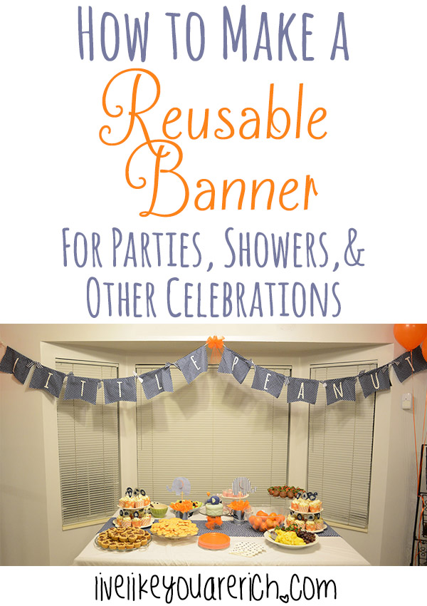 How to Make Reusable Party Banners for parties, showers, and other celebrations. Easy, inexpensive, and durable!