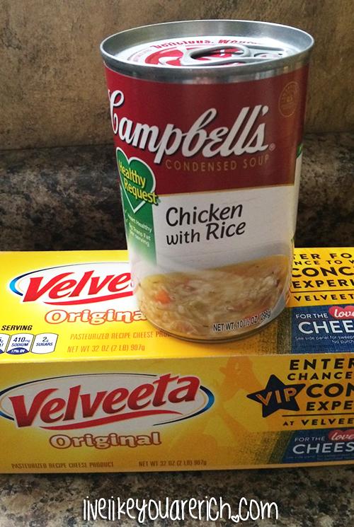Chicken with Rice and Velveeta Cheese Dip