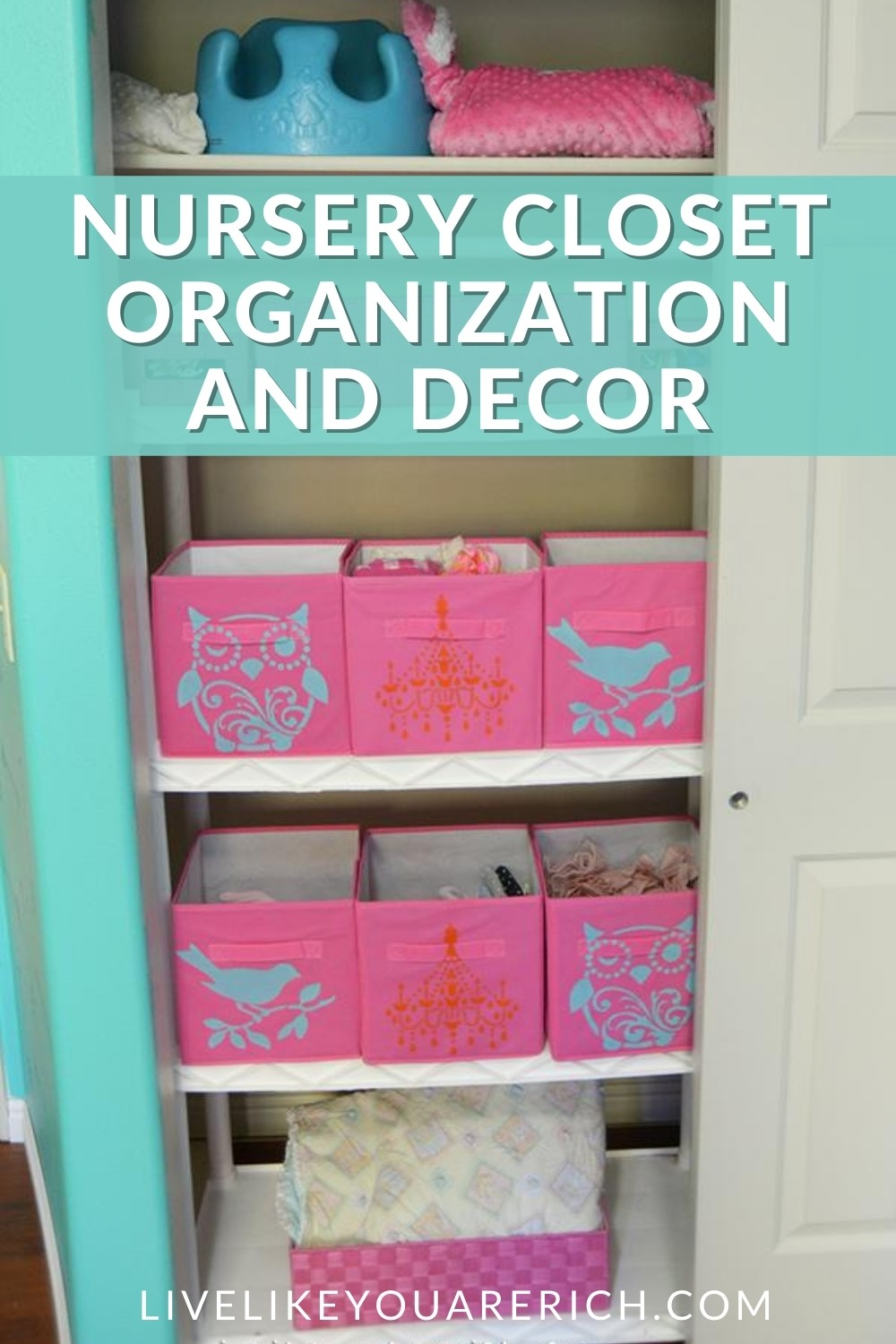 This Nursery Closet Organization and Decor is an inexpensive, yet very quick organization project. I am very happy with the way it turned out and with theTulip for Your Home stencils and paintit turned out much cuter than I could've imagined. It works great for busy and efficient parents.