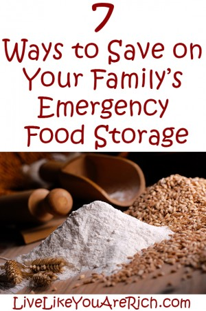 how to save money on emergency food storage