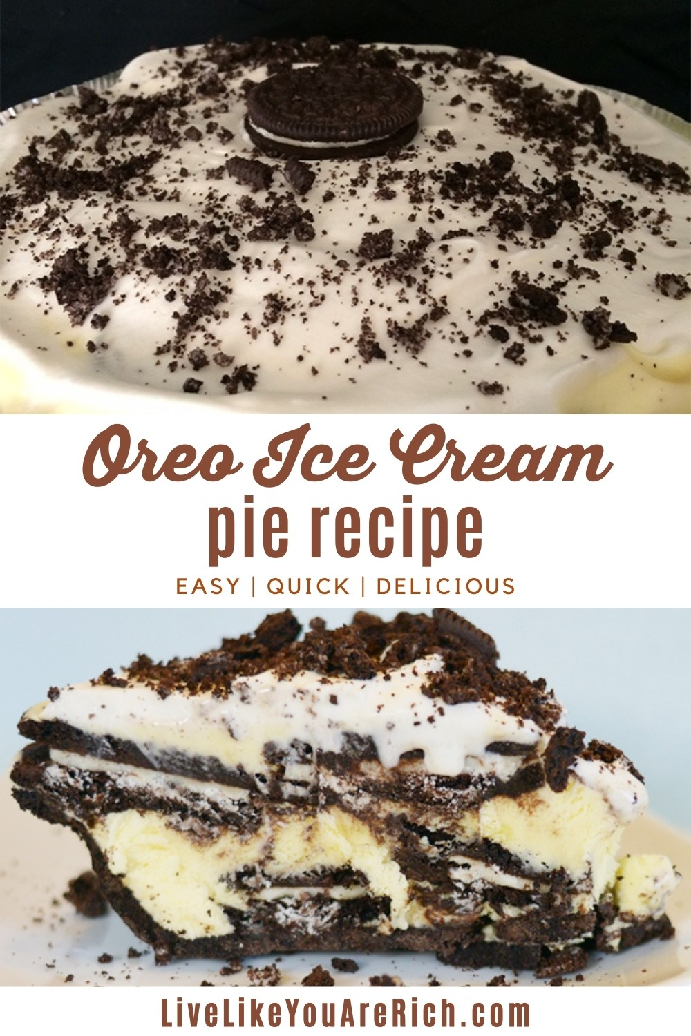 This super easy Oreo Ice Cream Pie recipe is so easy to make, quick, and absolutely delicious. It can be served very cold or frozen. I personally like it frozen because it is like an ice cream cake but instead it is an ice cream pie. #oreoicecream #pie