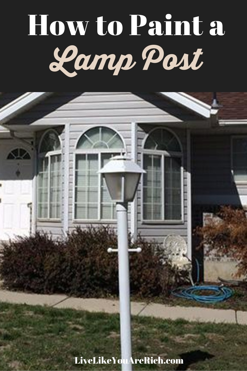 Our old house is mainly white blueish-grey siding and and brown. But our mailbox and lamp post are black and I really dislike the clash. So instead of buying a new lamp post, I decided to spray paint it. Sharing the steps on how I paint my lamp post.