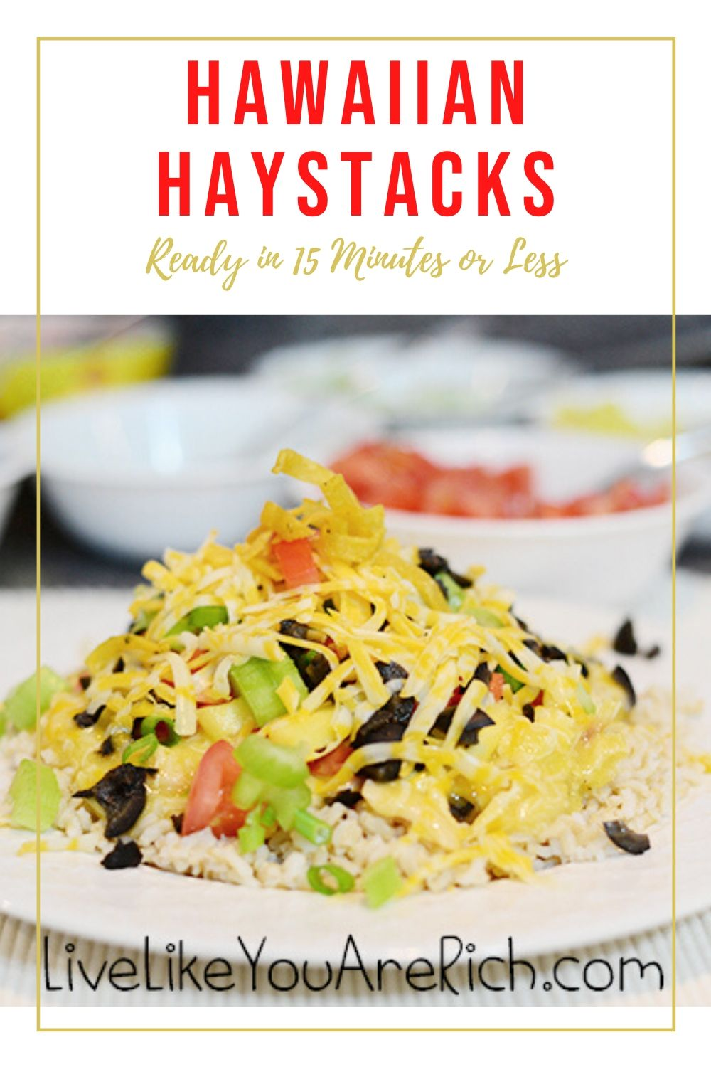 This Hawaiian Haystacks recipe has been in the family for years and is very easy to make. Many are looking for quick yet healthy, filling, and delicious meals for a holiday gathering. So I decided I'd share a family favorite.