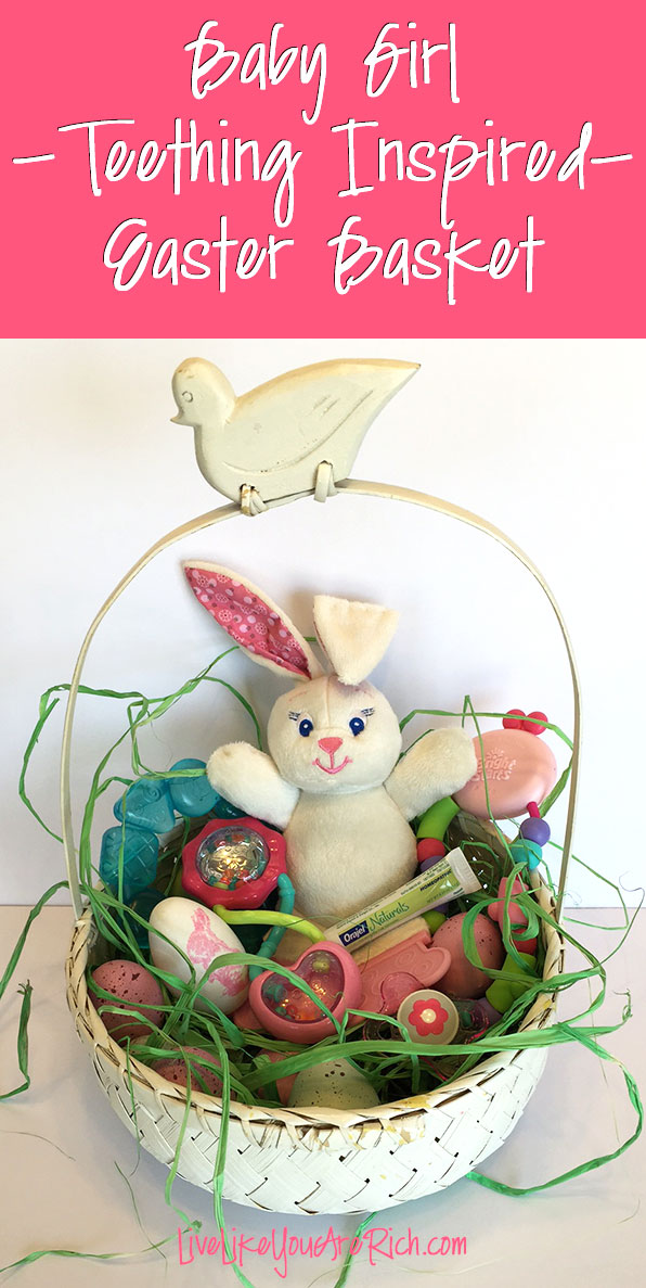 Teething Inspired Easter Basket...daughter is beginning to teethe, so for Easter I made her a teething inspired basket. This covers both the want to give her an Easter basket. #easter #easterbasket #teething
