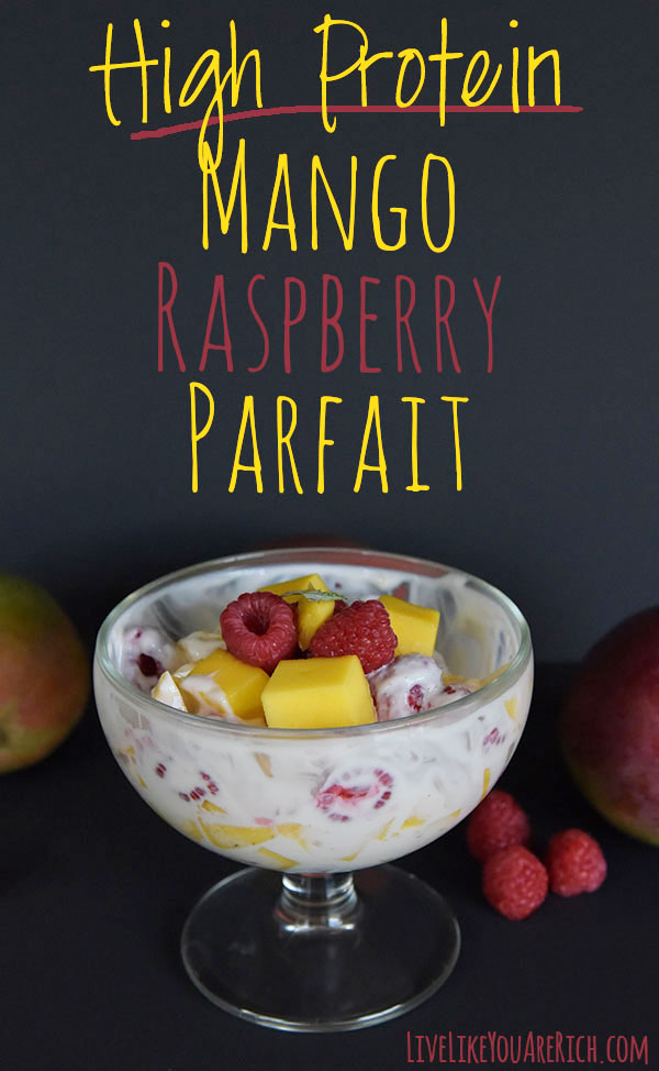 This High Protein Mango Raspberry Parfait recipe is a combination of ripe luscious and sweet mangos paired with juicy and lightly tart raspberries that make an AMAZING combination of flavor. A healthy high protein and slightly sweet parfait.