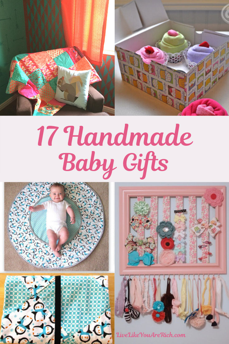 There are so many fun ways to celebrate the upcoming arrival of a baby. Making custom gifts is one of them. Here are 17 great handmade baby items/gifts to show your excitement for a new baby. #babygifts #giftideas
