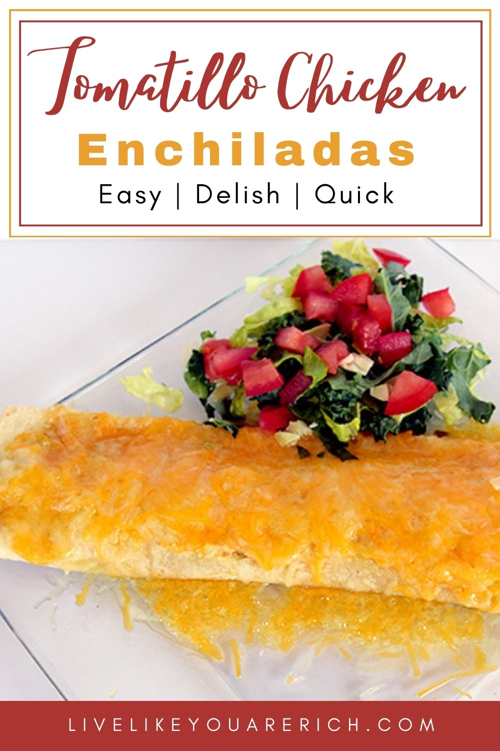 This tomatillo chicken enchilada recipe is an amazing recipe that can be prepped in about 7 minutes or less. You can make it all from cans or use as many fresh ingredients as you desire. #enchiladas #tomatillochicken