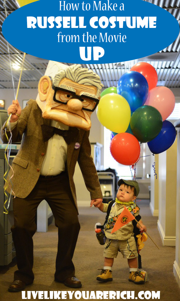 Russell from Movie UP is one of the cutest kid characters out there and it was so much fun to dress my son up like him. There are quite a few props to this costume but don't let that overwhelm you. It was fairly easy to make the props and to gather everything I needed. It was also pretty inexpensive as well! This is a great Halloween costume for kids or couples.