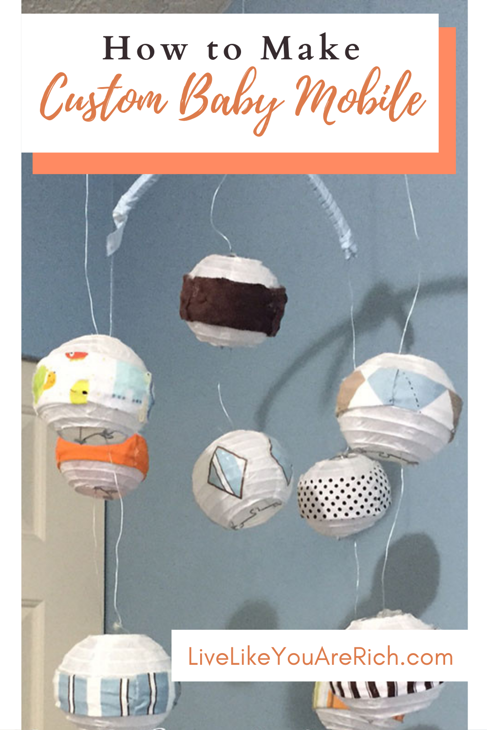 This Custom Baby Mobile is a great idea for decorating a nursery. They are often less expensive, match the decor better, and are fun to customize. I made this baby mobile for my son's changing table a few years ago. This would be a great gift for a baby shower as well! #babymobile #nurseryroom #nurserydecor