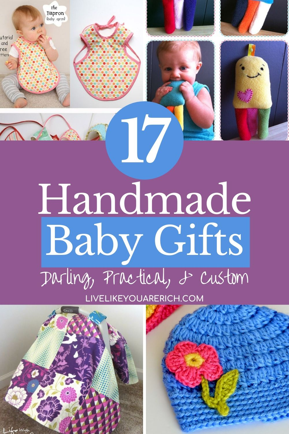 There are so many fun ways to celebrate the upcoming arrival of a baby. Making custom gifts is one of them. Sharing these 17 great handmade baby items/gifts that can show your excitement for a new baby.