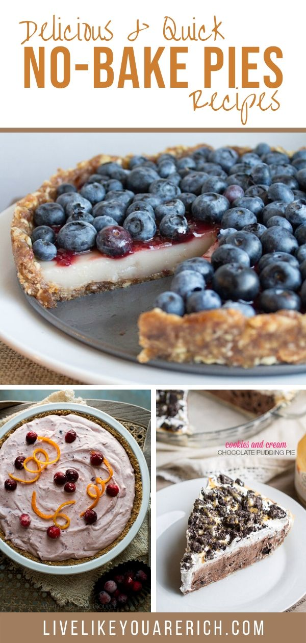 No-bake pies are so easy and quick (especially if you buy pre-made crusts). They can be thrown together in just a few minutes of prep and a few hours of chilling. They are a great idea for contributing to a party, potluck, or dinner. So, I thought I'd do a round-up that I can refer to for ideas on quick and easy no-bake pie desserts. And I'm super impressed by all of the options. I hope you enjoy them too!