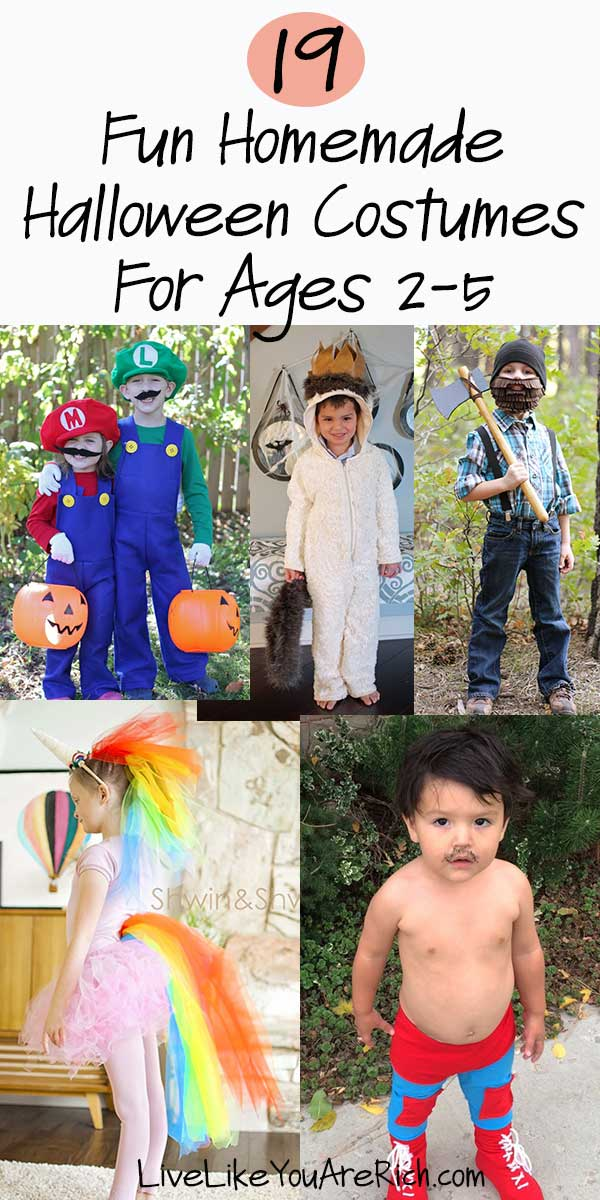 19 Fun Homemade Halloween Costumes for Ages 2-5 are inexpensive, easy to make and totally awesome! #halloweencostumes #halloween #funhalloweencostumes