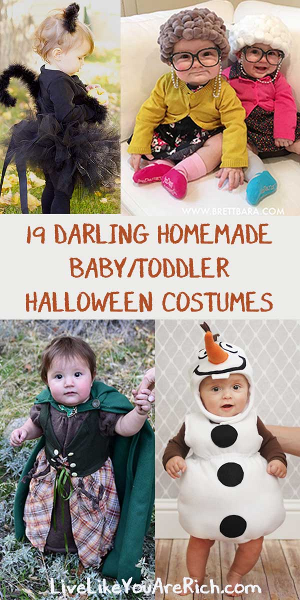 These 19 Darling Homemade Baby/Toddler Halloween Costume ideas are too cute and look so easy to make! #halloweencostumes #babycostume #toddlercostume #darlinghalloweencostumes