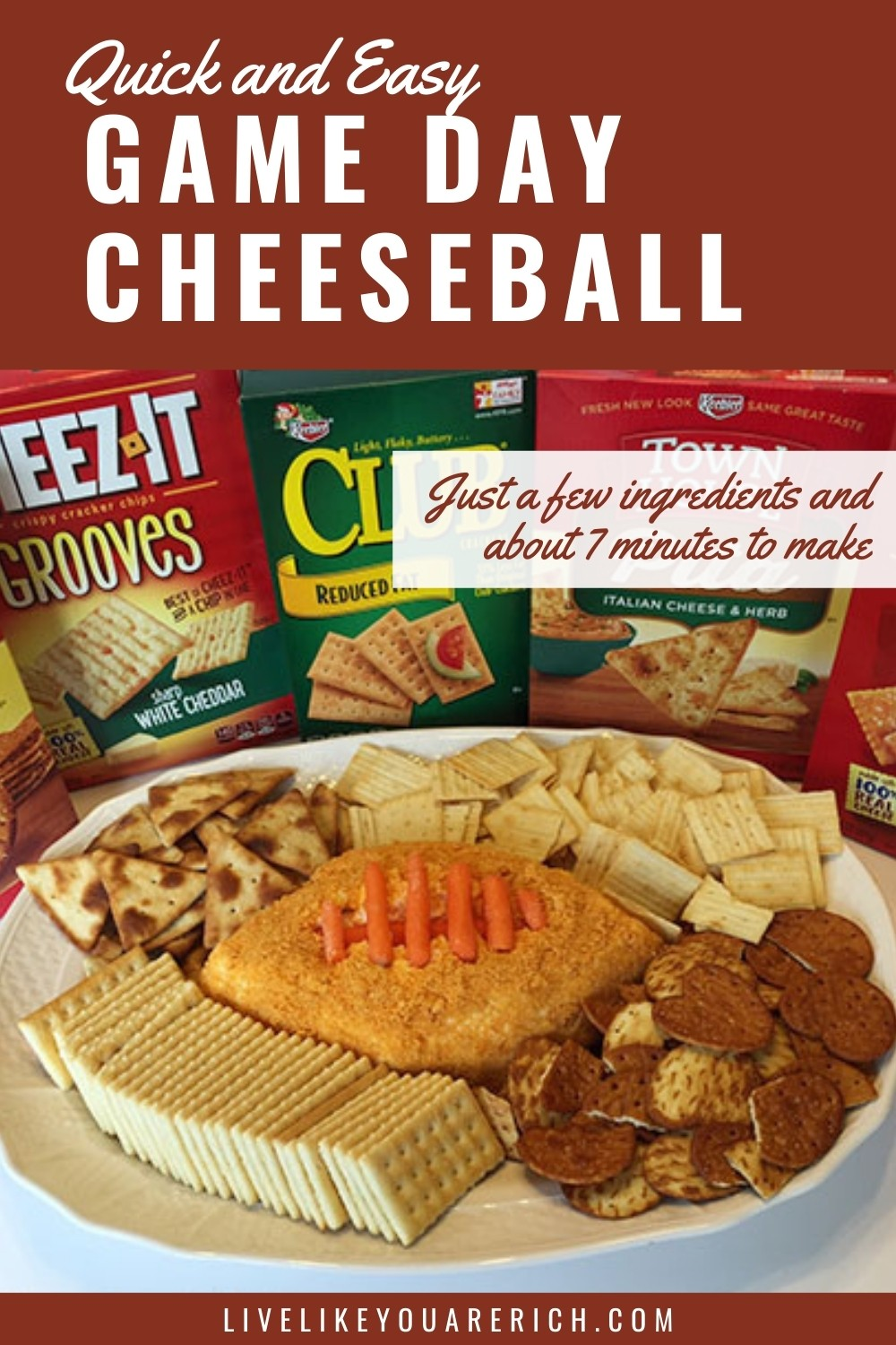 Game Day Cheeseball. This game day Cheeseball dip is very simple. You need just a few ingredients and about 7 minutes to make it. This is a perfect football game party, tailgating and game day foods. #tgamedayfood #cheeseball