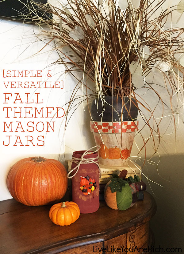 simple fall themed mason jars