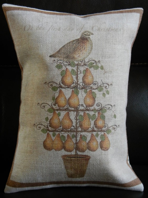 Classic Partridge in a Pear Tree Christmas pillow