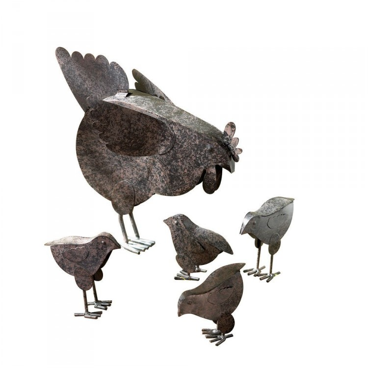 hen and chicks sculpture set