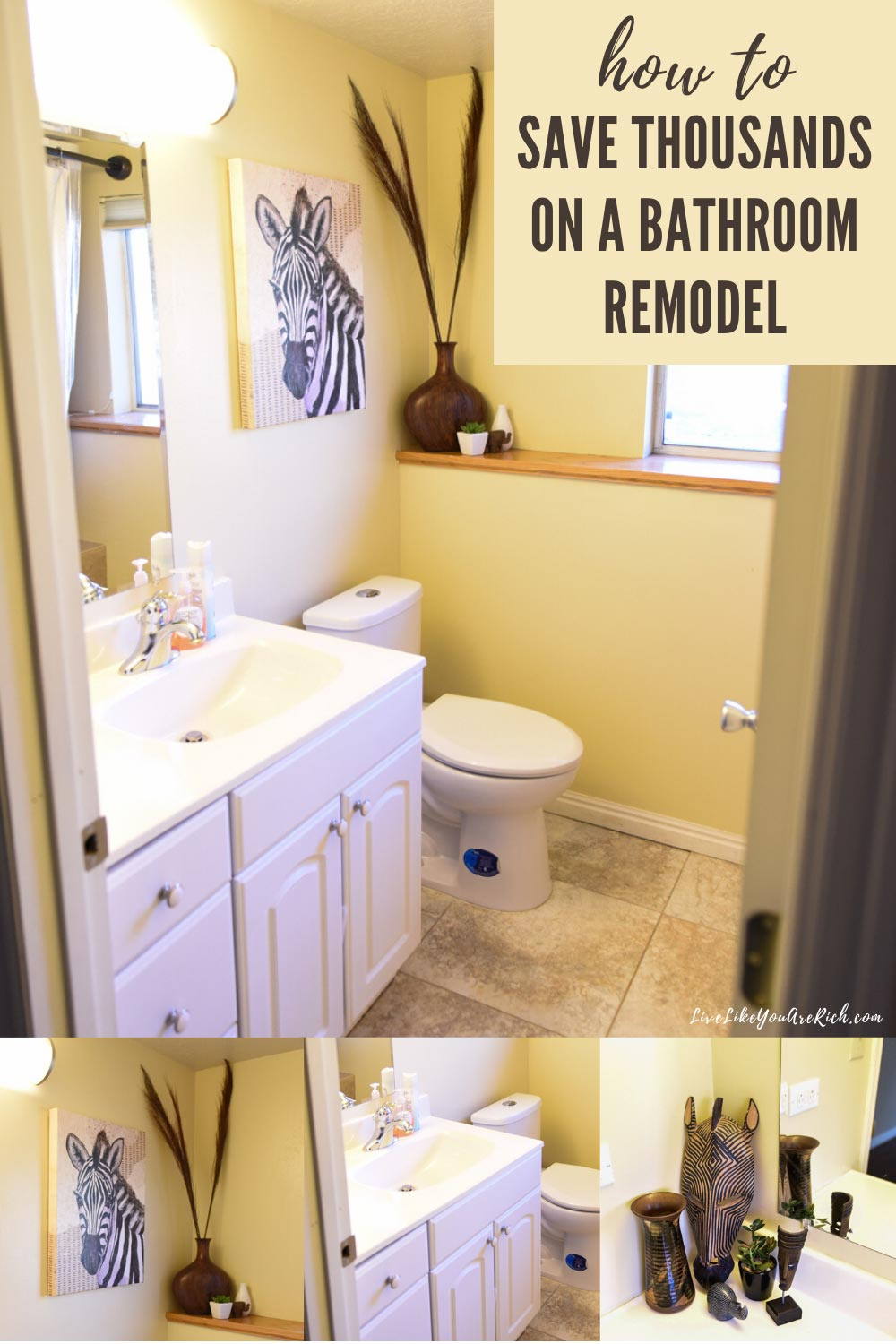 Here is the details on how this bathroom ending up costing 91% less than a typical bathroom remodel costs.  #bathroom #remodel #bathroommakeover