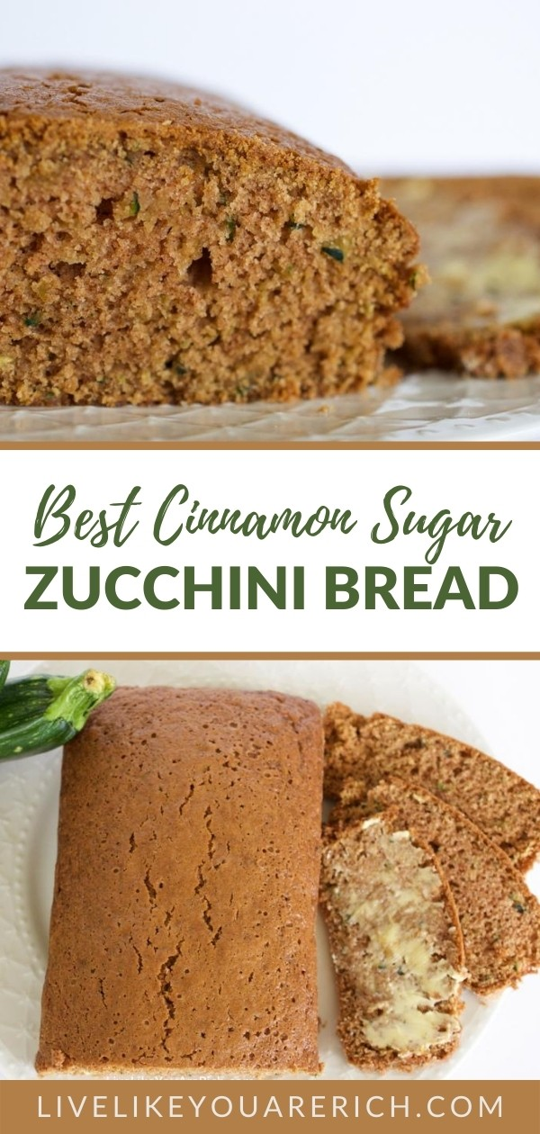 The Best Zucchini Cinnamon Sugar Bread recipe - this is loved by almost everyone who tries it—especially my dad. The cinnamon flavor is very light and balances perfectly the zucchini flavor and sweetness from the sugar. This is super delicious, super moist and easy to make.