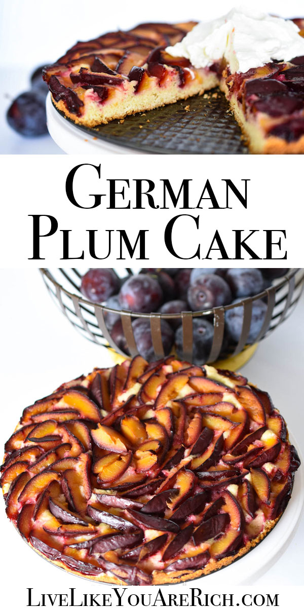 This German Plum Cake is a combination of a deliciously moist lemon tart topped with sweet plums baked to perfection. Super easy to make and delicious. #germanplumcake #plumcake