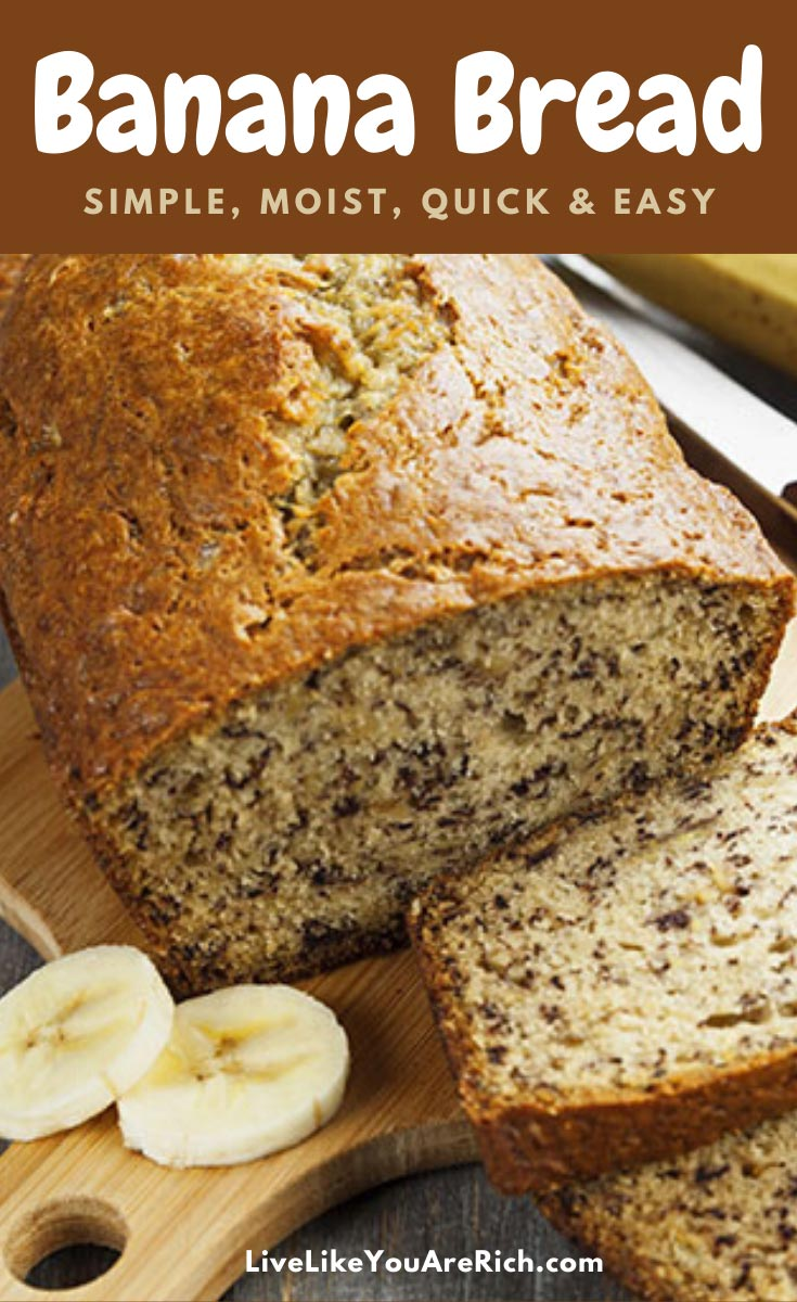 This banana bread recipe has been in our family for over 50 years. It is so moist, simple, quick, and delicious. #bananabread #banana #bread