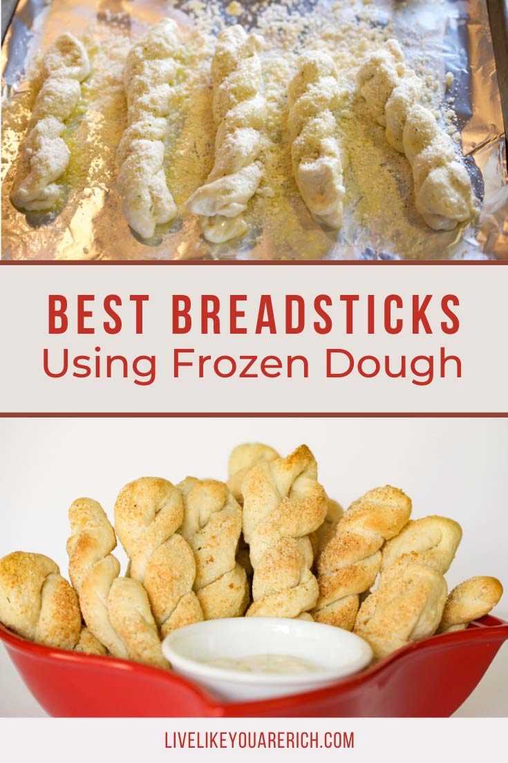 Making breadsticks out of frozen bread dough is a very simple and quick way to make a meal more gourmet. Give them a try and let me know what you think. #breadstick #bread