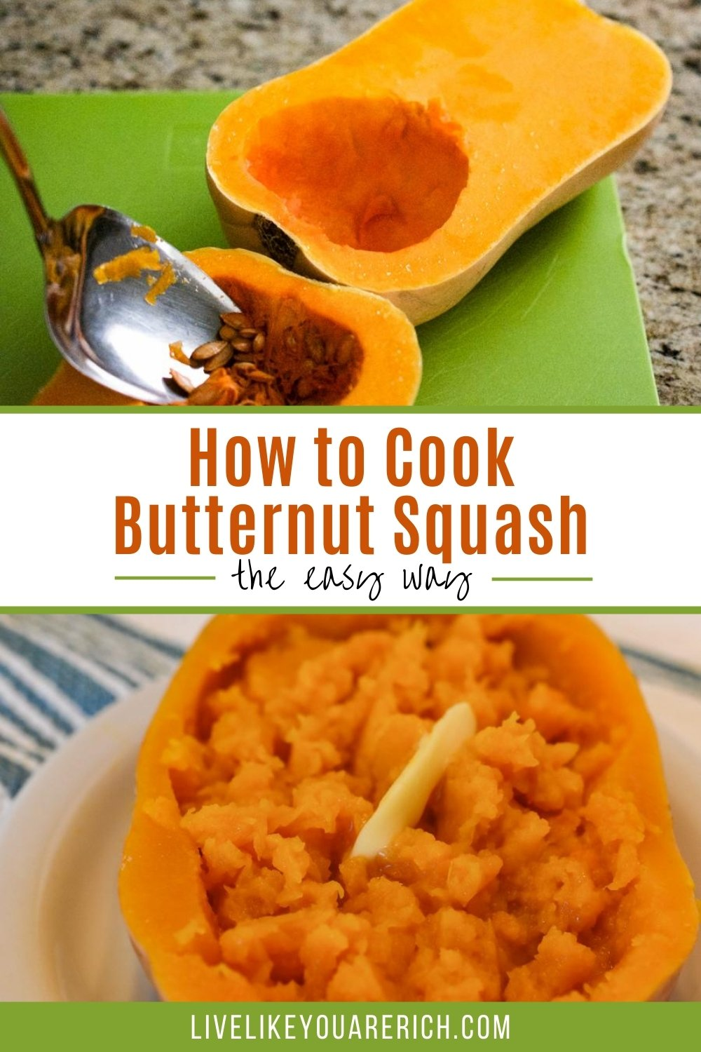 How to Cook Butternut Squash—the Easy Way. The instructions are very simple and it only took a few minutes to prepare before we cooked it (over an hour). Cooking the butternut squash as we did makes it very soft and moist. It is also healthy, rich in fiber and vitamin A which is good for the eyes.