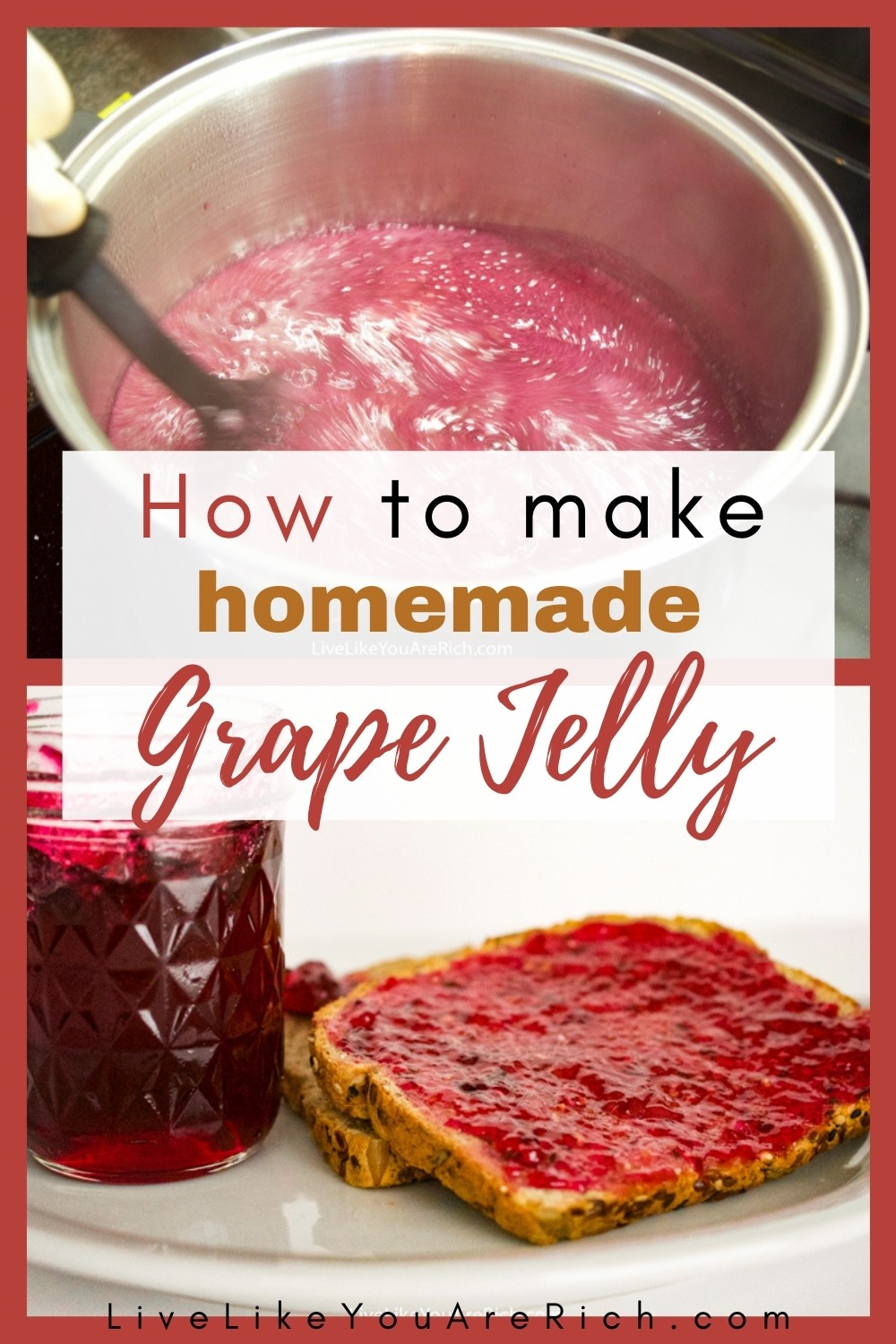 This is my favorite jelly! It is so flavorful, sweet, and delicious! It is easy and quick to make, especially considering the fact that the extras will store for up to a year. I'd highly recommend trying this fantastic recipe. #grapejelly