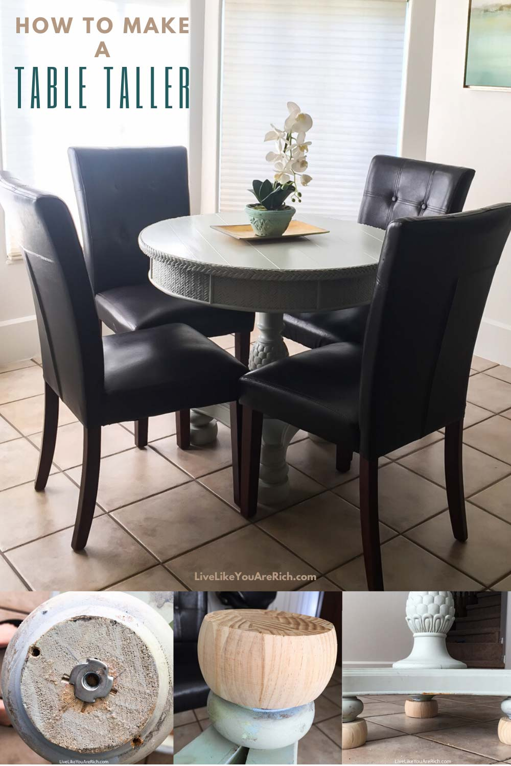 My little table measures just over 30 inches tall and fits my diningchairs perfectly. I have had a guest who is 6'3″ sit at the table comfortably.It has been very functional and was inexpensive, easy, and quick. I hope this is helpful if you need to make a table taller as well! #table #tablemakeover #diy