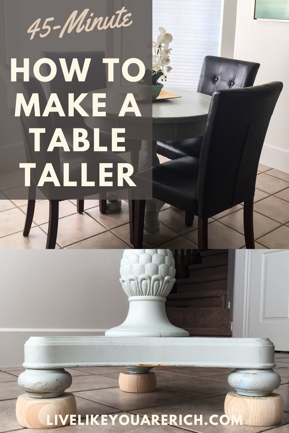 I have a small table that I bought 5 years ago. I decided to make it taller. My little table measures just over 30 inches tall and fits my diningchairs perfectly.It has been very functional and was inexpensive, easy, and quick. I hope this is helpful if you need to make a table taller as well!
